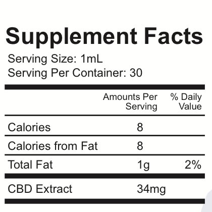Pure CBD 1000mg Natural Flavor Supplement Facts