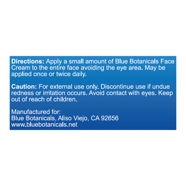 Blue Botanicals Face Cream Directions