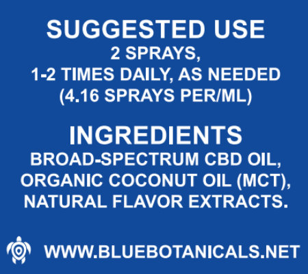 BB CBD Broad Spectrum Spray 1000mg 30ml Suggested Use
